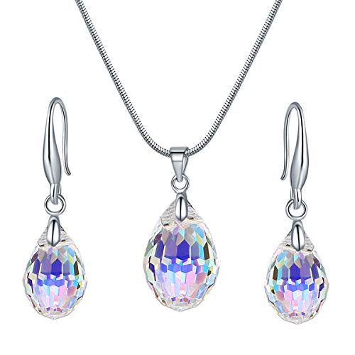 (WANZIJING Water Drop Jewelry Sets, Genuine Crystals from Swarovski Silver Color Pendant Necklace Dangle Earrings for Women)
