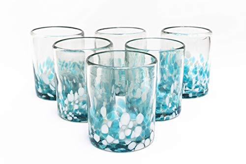 Mexican Blown Glass Drinking Glasses Confetti Colorful Glassware Unique Recycled Glass Multi Color Acqua and White Hand…