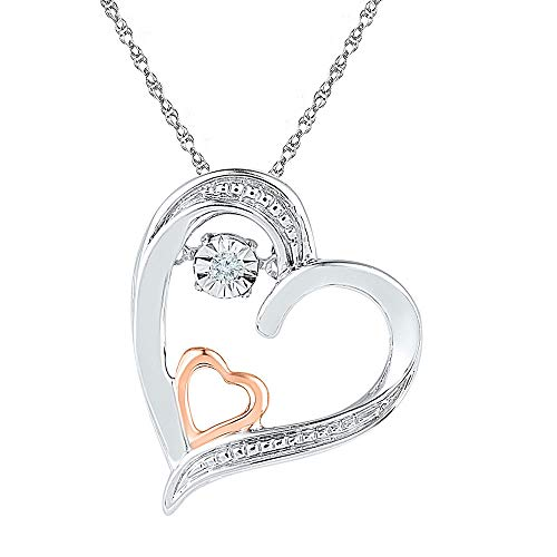 Diamond Double Heart Moving Twinkle Pendant .01ct 10k White Gold & Rose Gold