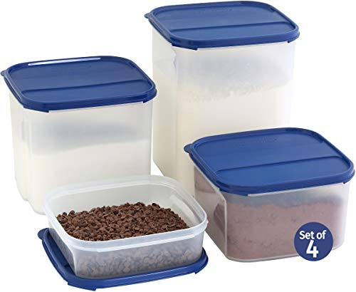 LARGE Dry Food Storage Containers for Flour Sugar Chips, Baking Ingredients - Set of 4 SignoraWare Kitchen/Pantry Bulk Square Tall Containers-100% Airtight Leak Proof Lids- One Lid Fits All - BPA Free