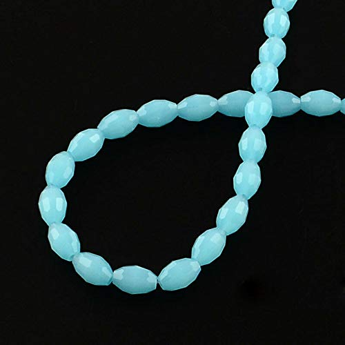 Bulk 72 Glass Beads Rice Shaped Faceted Full 16 Inch Strand Blue Tone, Beading, Jewelry Making, DIY Crafting, Arts & Sewing by Perfect Beads ()