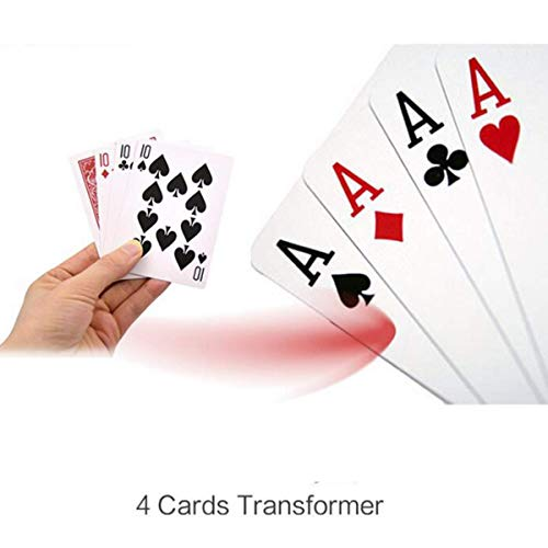 WSNMING 4 Cards Transformer Magic Tricks 10 to A Card Magic Props 10 Change A Magic Sets Close up Street Card Props with Video Tutorial