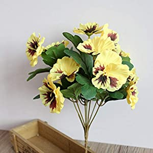 Doro88 Artificial Flowers Hotel Bouquet Pansy Desk Simulation Plant Ornament Home Decor Wedding Table Office Fake Party(Yellow) 20