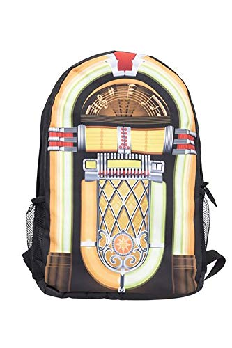 Showroom Novelty Graphics 17-inch School Backpack Including Front Pouch with iPad or Laptop Inner Pocket, Jukebox