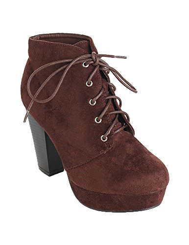 Forever Camille-86 Women's Comfort Stacked Chunky Heel Lace Up Ankle Booties Brown 5 ()
