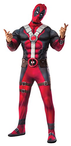 UHC Men's Marvel Deadpool Deluxe Muscle Chest Outfit Adult Halloween Costume, STD (38-44) (Ultimate Deadpool Costume)