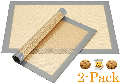 2-Pack Non-Stick Silicone Baking Mat, Toaster Oven Liner, Cookie Sheet, 16.5 inch x 11.5 inch