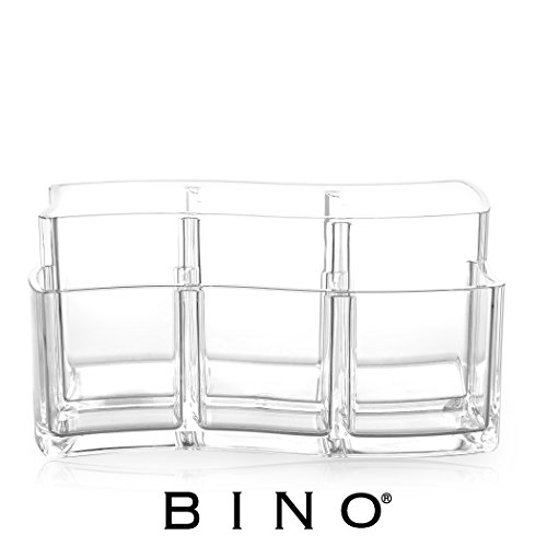 BINO The Wave 6 Compartment Acrylic Jewelry and Makeup Organizer, Clear and Transparent Cosmetic Beauty Vanity Holder Storage