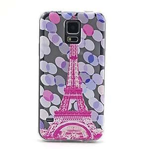 WQQ torre patrón rosa ultrafina TPU caso de la contraportada suave para i9600 Samsung Galaxy S5