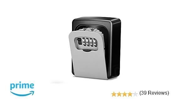 Wonyered Caja de Seguridad Cerradura Fuerte con 4 Numeros de Códigos para Guardar las Llaves Joyas o Tarjeta bancaria en Pared o Mirilla: Amazon.es: ...