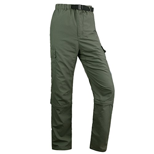 Kayla qin Mens Quick Dry Pants Convertible Waterproof Lightweight Cargo Hiking Sports Outdoors Army Green L