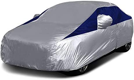 Titan Lightweight Car Cover. Compact Sedan (Midnight Blue). Compatible with Toyota Corolla, Sentra, and More. Waterproof Car Cover Measures 185 Inches, Includes a Driver-Side Door Zipper.