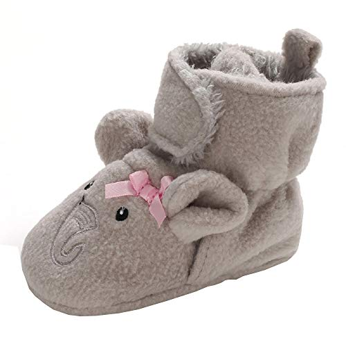 Ollily Baby Newborn Infant Boys Girls Winter Warm Slippers Socks with Non Skid Bottom Crib Shoes Grey Elephant 12-18 Months