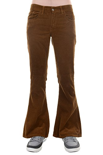 Run & Fly Men's 70's Retro Vintage Bellbottom Corduroy Super Flares 32 Regular Tan