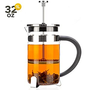 Tealyra - French Press 32-ounce - 4-5 cups - Great for Tea Coffee Espresso Drinks - Glass Heat-Resistant Borosilicate Glass - 18/10 Stainless Steel Plunger - 1000ml