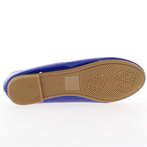 Blau Ballerina mit Endknoten bemalt und Köper Band 1 cm
