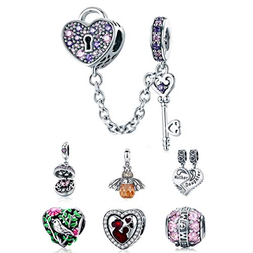 LeeFeel Love Heart Lock Key Charms 925 Sterling Silver Multicolored CZ Key of Heart Charm Beads for Her Valentine's Day Jewelry Gifts (925 Lock Silver)