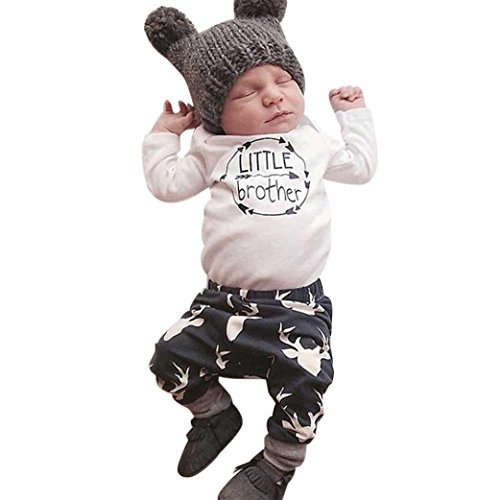 Newborn Baby Boys Romper Tops+Pants Outfits Clothes Set (3Month, White) (Book Whale Interactive)
