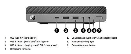 HP EliteDesk 800 G3 Business Mini Desktop PC - Intel Quad-Core i5-6500,  256GB SSD, 8GB DDR4, USB Type-C, DisplayPort, Windows 10 Professional