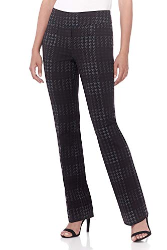 Rekucci Women's Secret Figure Pull-On Knit Bootcut Pant w/Tummy Control (16,Black/Multi Houndstooth)