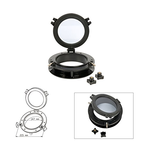 """Amarine Made Boat Yacht Round Opening Portlight Porthole 8"""" Replacement Window Port Hole - ABS & Clear Tempered Glass - Black"""
