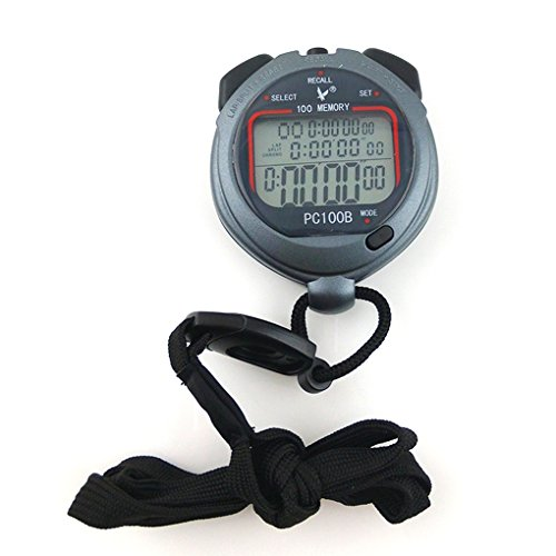 Tralntion PC100B 3 Rows 100 Memories LCD Display Sport Stopwatch Swimming Chronograph