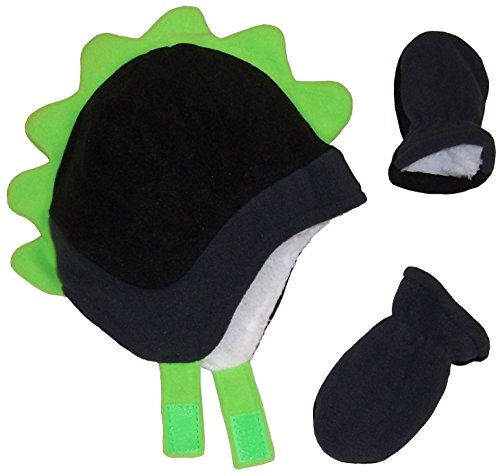 N'Ice Caps Boys Soft Sherpa Lined Micro Fleece Dino Hat and Mitten Set (6-18mos, Black/Charcoal/Neon Green Infant)