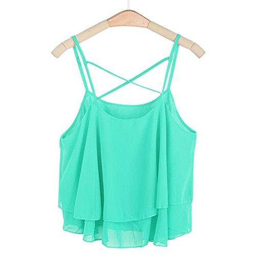 Women Tank Crop Tops Teen Girls Solid Color Cross Bandage Chiffon Sleeveless Blouse Cami Shirt Camisoles (Green)