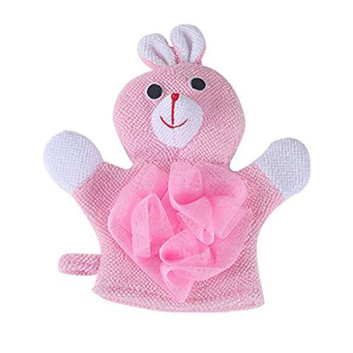 TADAMI 1 Pair Compound Cotton Children Bath Rub Gloves Shower Body Wash Puff Mesh Home & Garden Bathroom Products (Pink) (Rub Faucet)