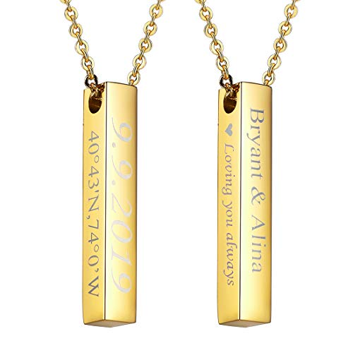 U7 Same Day Shipping Bar Necklace with Chain Customize Jewelry for All Age 18K Gold Plated 4 Sides Vertical Bar Pendant Personalized Names/Dates/Coordinates/Roman Numerals/Initials/Symbols