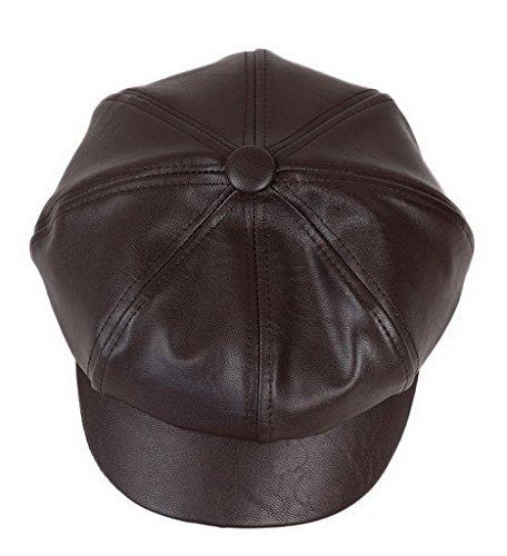 (Bigood Women Fashion PU Leather Solid Ascot Ivy Newsboy Cap Berets Dark Brown)
