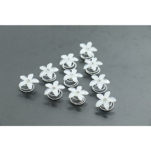 One Dozen White Flower Hair Pin Twister Coil Spiral Set with Crystal Center for Wedding Party Special Event - Flowers White Crystal