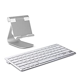 OMOTON Desktop Tablet Stand, Multi-Angle Aluminum Charging Dock Holder with Sticky Suction Mount Base, Fit for All Smart Phones, E-readers and Tablets (Up to 12.9 inch), Silver