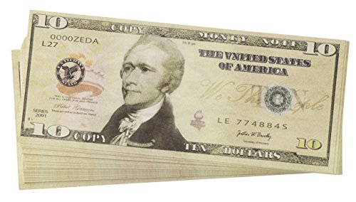 ed Prop Money - Set of 100 $10 Dollar Bill Total $1,000 with Green Currency Strap - Full Print Paper Money for Movie, TV, Videos, Pranks, Advertising & Novelty, 6.25 x 2.5 Inches ()
