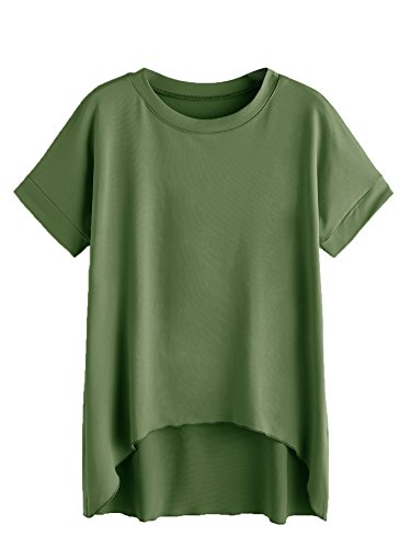 SheIn Women's Basic Short Sleeve Dip Hem High Low Casual T-Shirt Top Large Green (Top Dip Hem)