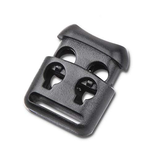 Double Hole Plastic Cord Locks End Spring Stop Toggle Stoppers Multi-Colour (10PCS, Black) ()