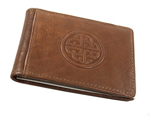 Brown Embossed Leather Money Clip - Money Clip Wallet Celtic Eternity Knot Genuine Leather Brown
