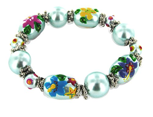 na Hand Painted Hawaiian Style Glass Beads Stretch Bracelet (Painted Village)