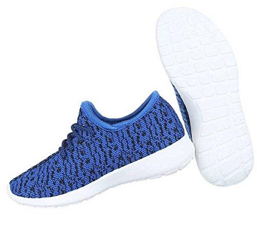 Damen Sneakers Schuhe Freizeitschuhe Schwarz Blau