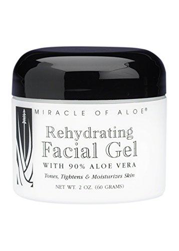 Miracle of Aloe, Rehydrating Facial Gel with 90% UltraAloe - 2 ounce jar (Aloe Jar 2 Ounce)