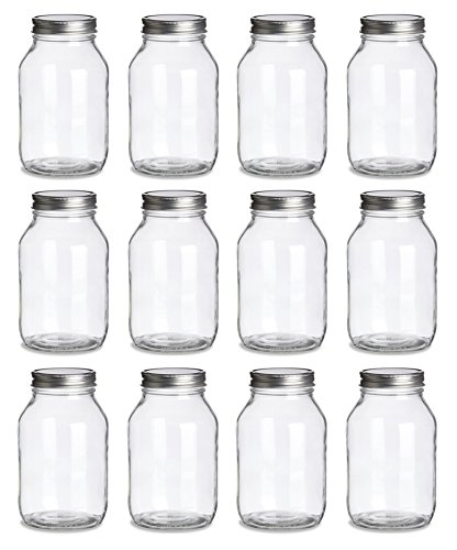 (North Mountain Supply 32 Ounce Quart Glass Regular Mouth Mason Canning Jars - with Silver Safety Button Lids - Case of 12)