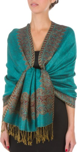 - Sakkas Border Pattern Layered Reversible Woven Pashmina Shawl Scarf Wrap Stole - Sea Green