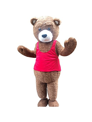 Teddy Bear Adult Mascot Costume Cosplay Fancy Dress Outfit Brown -