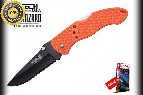 Folding Pocket Sharp KNIFE Wartech Orange Black Serrated Blade Low-Cost Utility EDC Combat Tactical Knife + eBOOK by Moon Knives