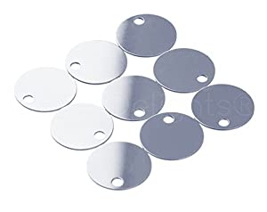 "25 Pack - CleverDelights 3/4"" Round Aluminum Stamping Blanks - Shiny Anodized Finish - 22 Gauge (.025"")"