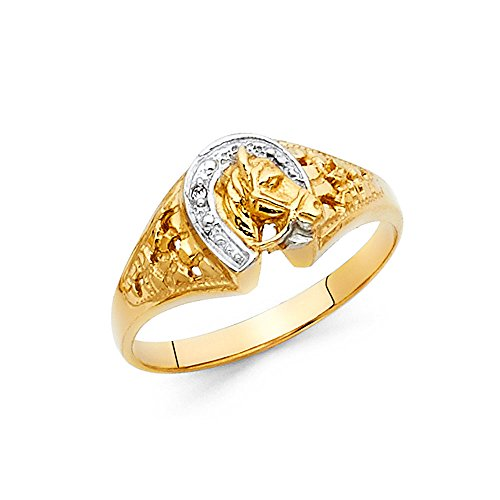 Two Tone 14K Solid Gold Horses