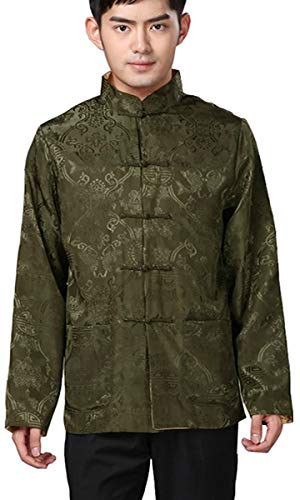 - BLINGLAND Chinese Traditional Uniform Top Kungfu Shirt for Men US XS Asia S-Dark Olive+Gold