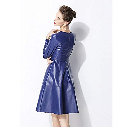 para Rayas Vestido Color Mujer Sólido Blue Estilo Chic JIZHI S A BXfgOOq