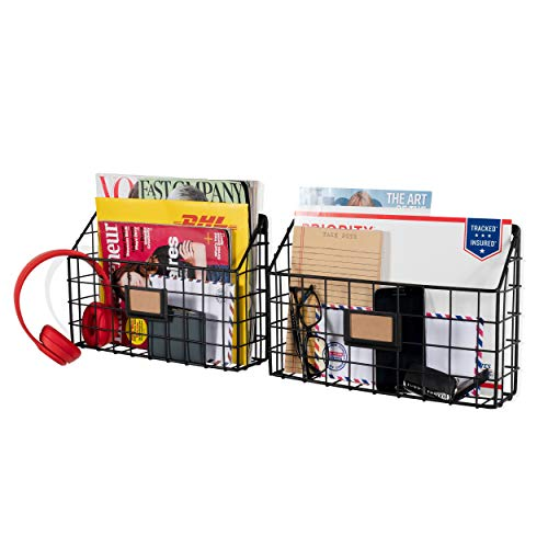 - Wall35 Rivista Multipurpose Wall Mounted Farmhouse Design Basket - Wide Magazine Rack Metal Wire Set of 2 (Black)
