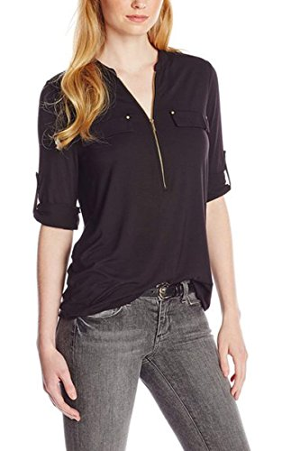 ACEVOG Women V-neck Zip Front Blouse Solid Color Roll UP Sleeve Tops Causual Shirt Black S